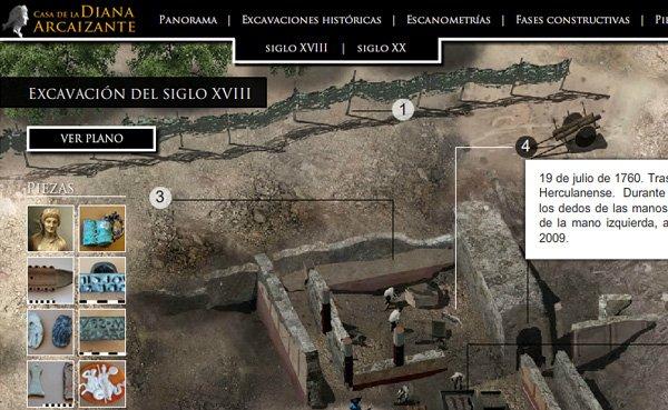 Primera versión de la web de la Casa de la Diana Arcaizante en Pompeya. Imagen 1 de 3