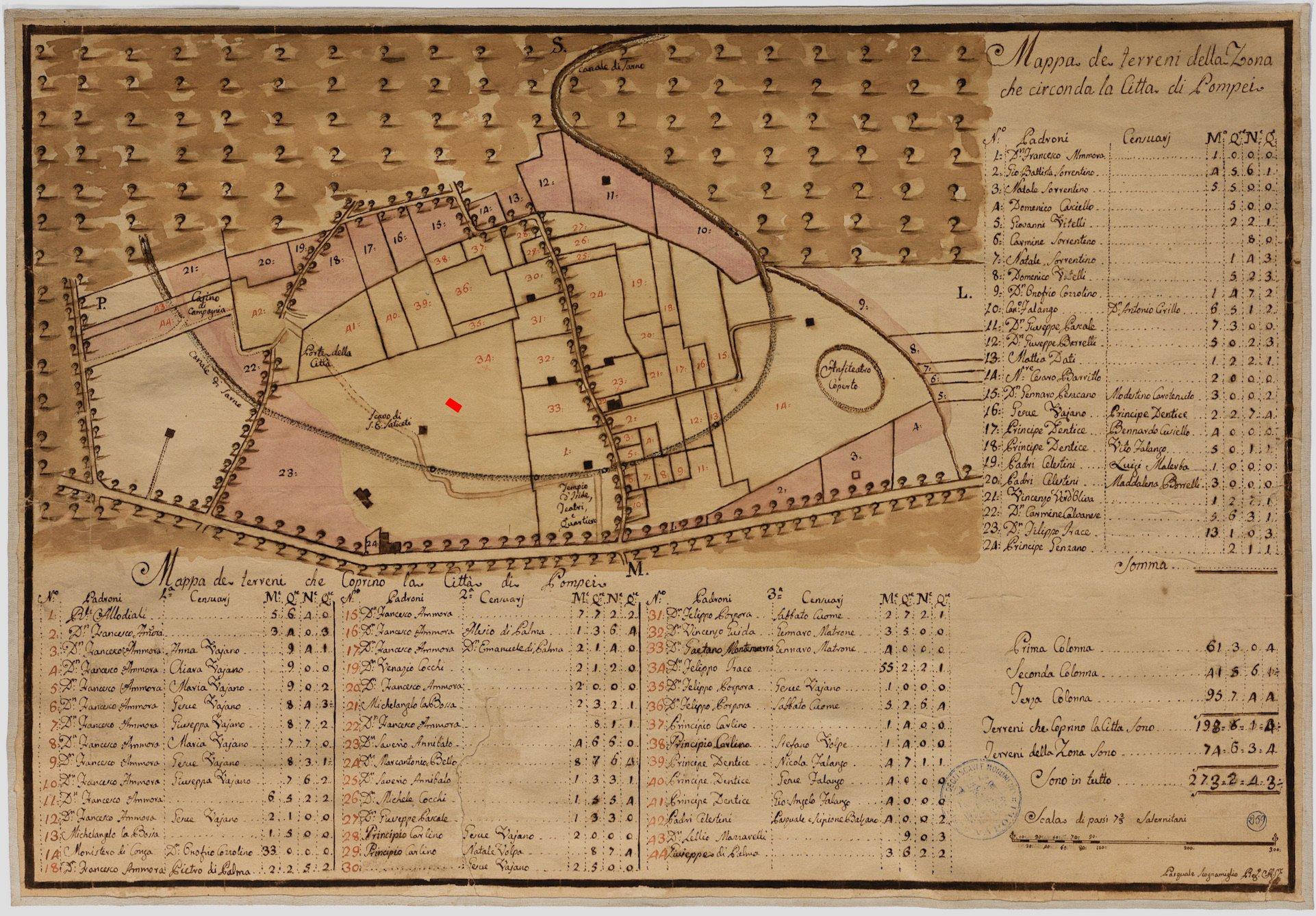 Mapa catastral de la ciudad de Pompeya